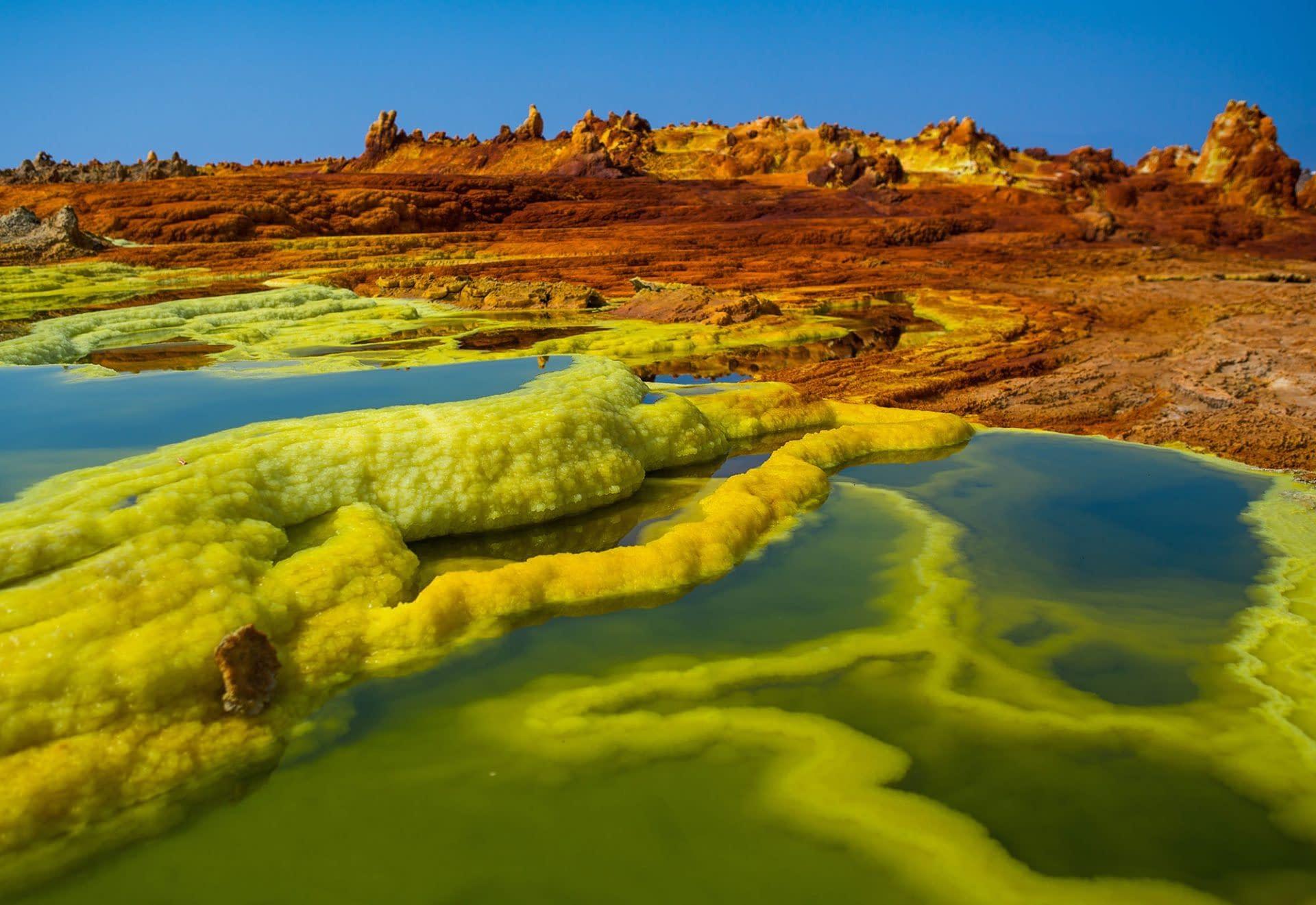 The colorful volcanic landscape. Danakil Depression Eritrea. Danakil depression